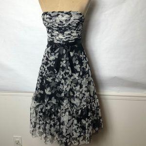 BCBG Maxazria full skirt floral tulle/mesh  dress